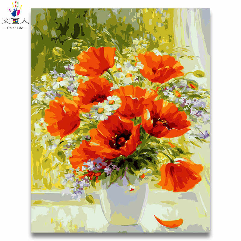Vase cherry blossom oil paint by numbers package diy painting coloring draw pictures by numbers with kits for room decoration