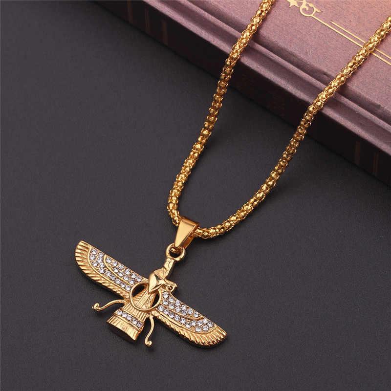 ทองสี Zoroastrian Farvahar ปีกสร้อยคอจี้ Zoroastrianism เปอร์เซีย Achaemenian ผู้ชายเครื่องประดับสร้อยคอ