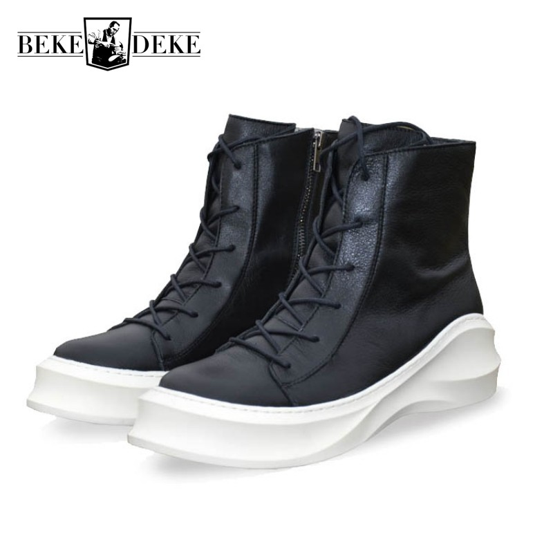 British Personality Mens Martin Boots Genuine Leather Motorcycle Casual Shoes Lace Up Zapatos New Thick Platform Winter Footwear martin new winter with thick british style short canister female fall side zipper boots