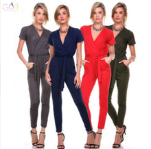 GDA. Spring and Summer Fashion New Women Short Sleeved V Neck Solid 3 Colors Jumpsuit Casual Slim Bodycon Long Pants Rompers F
