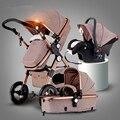 Новый Роскошный Детская Коляска 3 в 1 Высокая Пейзаж Младенческая Baby Stroller with Car Seafty Сиденья, Детские Коляски Детские Коляски европейские Коляски