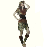 FREE SHIPPING Sexy Leopard Savage Lady Dress Adult Cosplay Costume Halloween Clothes