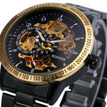 2016 WINNER Men Automatic Mechanical Watch Stainless Steel Watchband Men Wristwatch Golden Skeleton Dial Top Luxury Brand +BOX