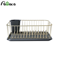 Stainless Steel Dish Drainer Drying Rack with Drip Tray Gold Wire Cutlery Dish Rack Stand Holder Shelf Kitchen Utensils Storage