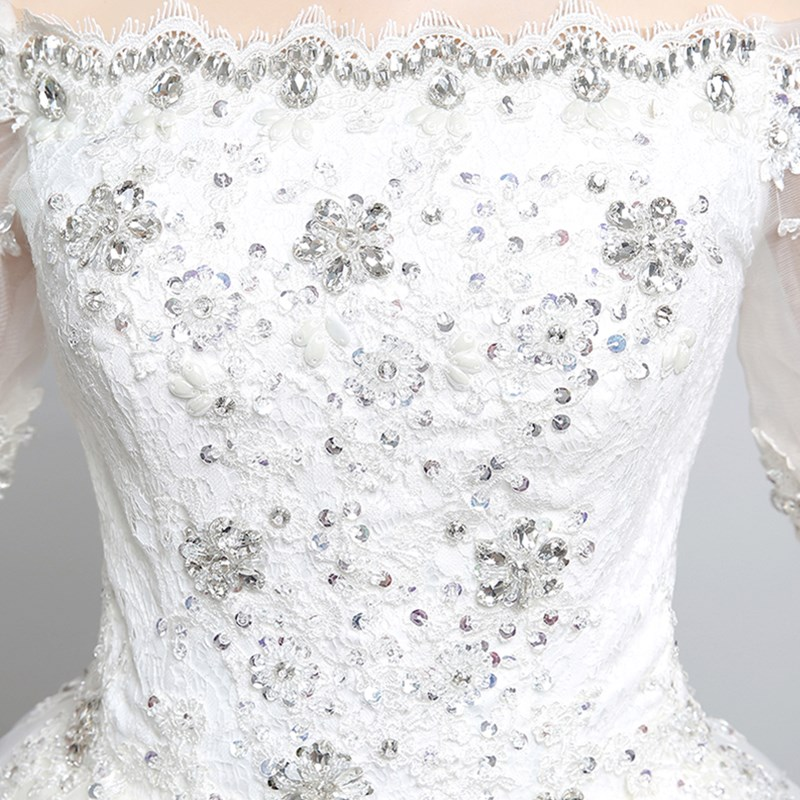 ruthshen Real Photo Wedding Dresses 2018 Off Shoulder Stones Beaded Bling  Short Sleeves Ruched Tulle Cheap Bridal Gowns-in Wedding Dresses from  Weddings ... bd009bebfde8
