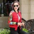Baratos por atacado de 2017 venda Quente mulheres Inverno Primavera espessamento de impressão para baixo algodão-acolchoado jaqueta feminina design slim outerwear Jaqueta