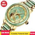 Genuíno Relógio Mecânico Homens Ocos Relógio de Parada Automática Jade Hetian Jade + Aço Inoxidável Relógios Homem 24-hora Pequeno mostrador de Relógio