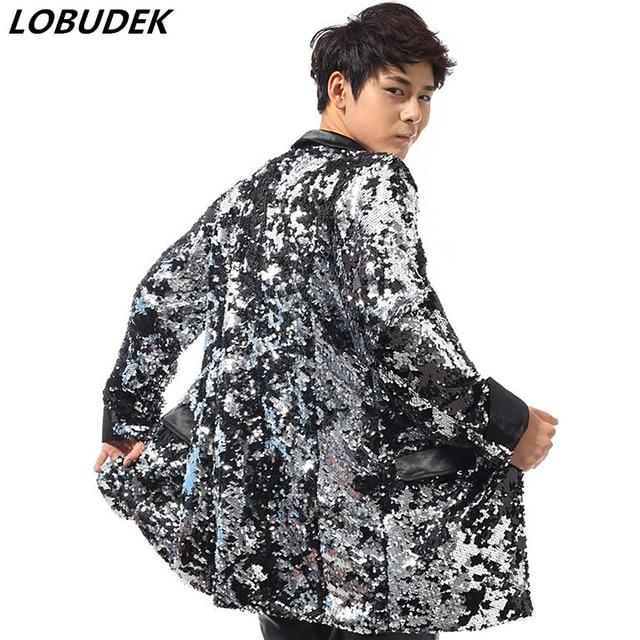 Sparkly Sequin long male Cloak Coat Bar Nightclub Rock singer Dancer DJ stage outfit Dance Costume Concert performance outerwear