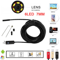 2IN1 Waterproof Android Endoscope Camera Inspection 6LEDs 7MM Lens USB Borescope Video Tube Pipe Mini Camera