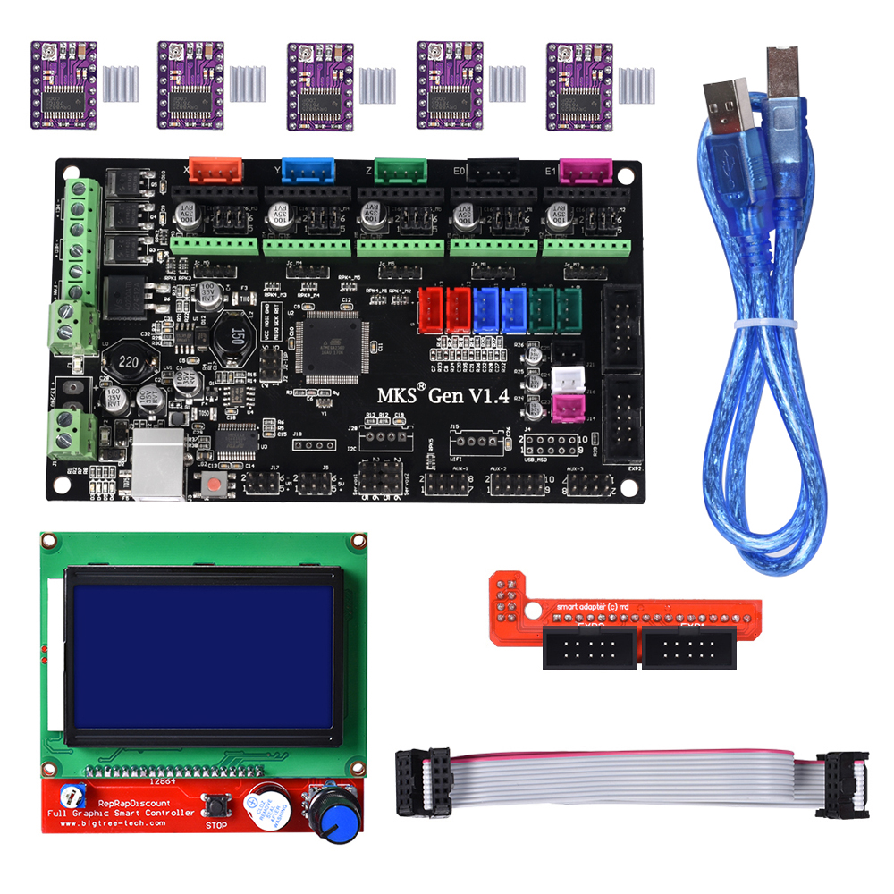 MKS Gen V1.4 Kit with MKS Gen V1.4 RepRap Control board + 5PCS TMC2130 Drv8825/A4988 Drivers + 12864 LCD for 3D Printer 3d printer kit mks gen v1 4 control board mega2560 motherboard ramps 1 4 with usb cable 2004 lcd 5pcs a4988 stepper motor