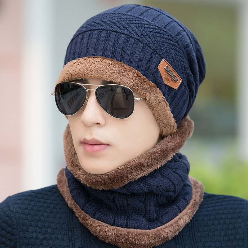 2016 Winter Hats For Men Knit Scarf Cap Neck Warm Caps Winter Beanie Fleece  Knit Bonnet Hat 993a4c45979