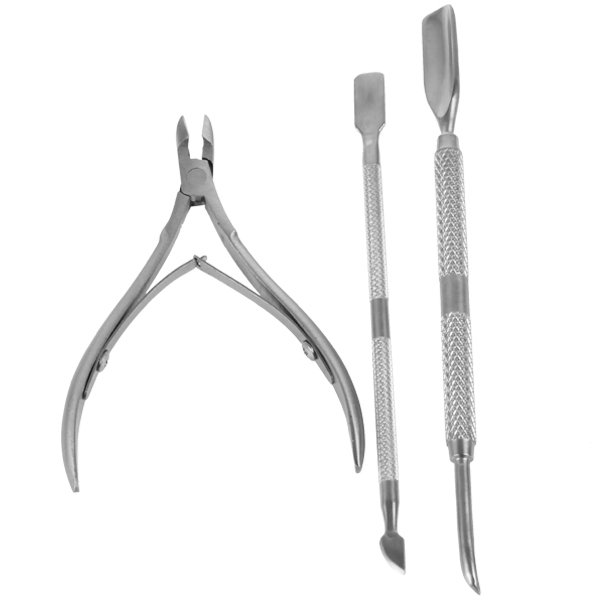 3pcs set stainless steel nail tool cuticle nipper pusher remover ...