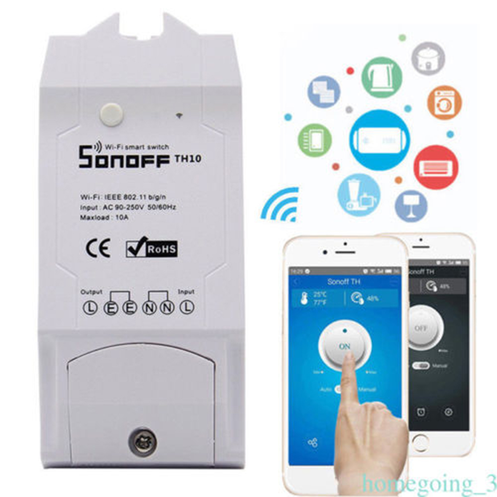 ITEAD Sonoff Smart House Sonoff TH10 WiFi Smart Switch 10A Temperature And Humidity Sensor Remote Controller itead sonoff th 10a 16a temperature and humidity monitoring smart home automation modules wifi smart switch wifi remote switch