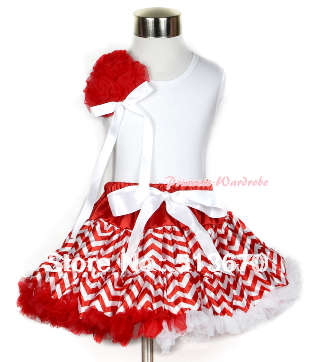 Xmas White Tank Top With a Bunch of Red Rosettes& White Bow With Red White Wave Pettiskirt MAMG713 red black 8 layered pettiskirt red sparkle number ruffle red bow tank top mamg575