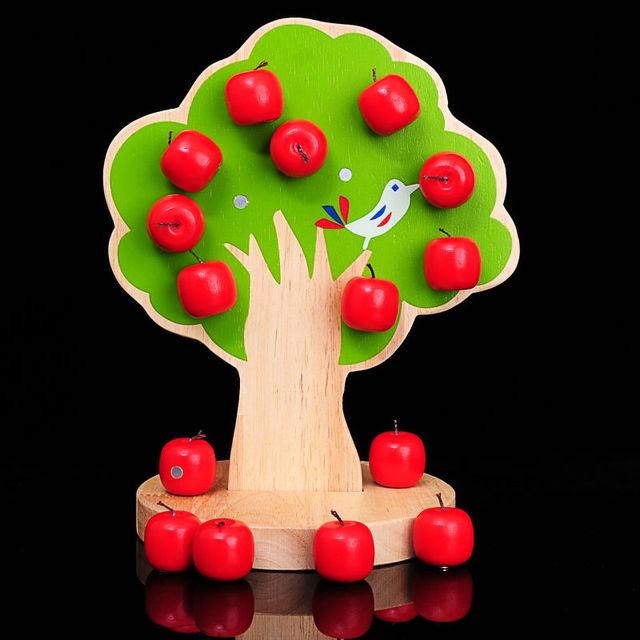 Árvore Feliz cognitiva pomar de madeira cordas magnéticas coloridas frisado fruto apple Preschool Brinquedos e Presentes