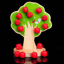 Cognitive Happy tree orchard wooden strings colored magnetic beaded fruit apple Preschool Toys and Gifts