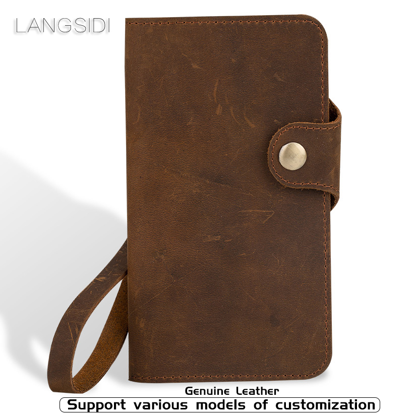 Genuine Leather Phone Case For Samsung Galaxy S6 S7 edge S8 S9 Plus case Crazy horse