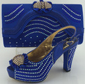 New arrival fashion 10cm heel peep toe Italian shoes with matching bags set new fashion stones African shoes and bag sets blue