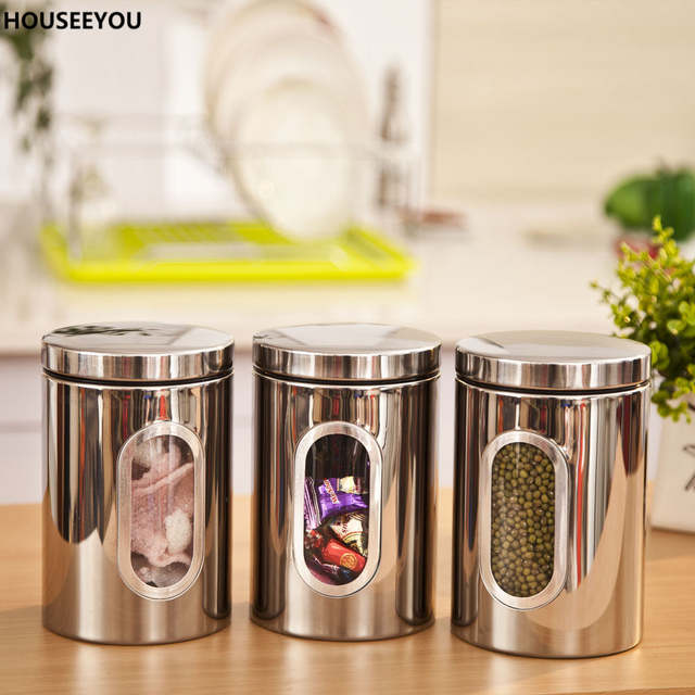 12d322262 Online Shop Stainless Steel Food Storage Bottles Jars Glass Window Kitchen  Candy Tea Storage Containers Home Storage   Organization 3pcs lot
