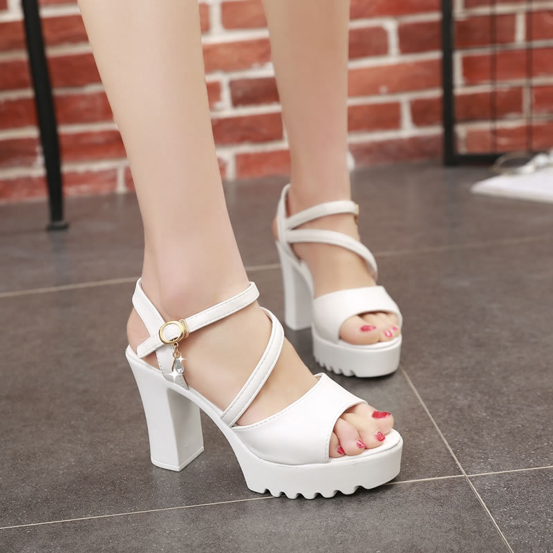 2019 New Women Sandals Summer New Hot Female Fish Mouth Exposed Toe High-Heeled Sandals Ankle Strap Ladies Shoes