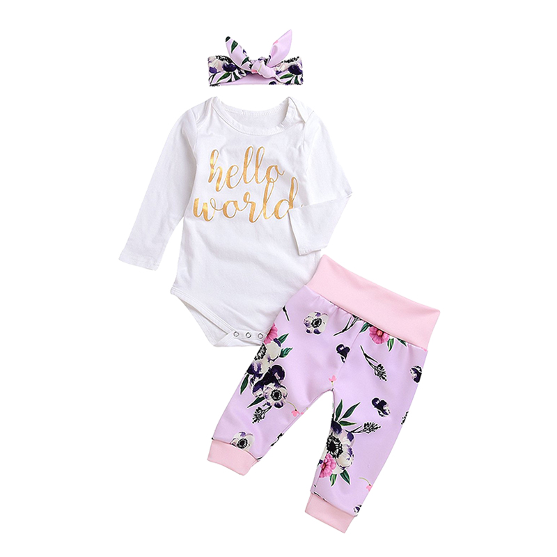 3Pcs Cute Newborn Baby Girls Letters Long Sleeve Romper+Floral Pant+ Hat+ Headband Warm Clothes Outfits ship from USA