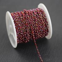 Rainbow Red Glass Bronze Plated Connector Chains, Rosary Chains, Rondelle Chains, Chains for DIY Jewelry