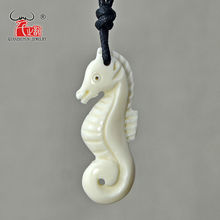 1PC SEA HORSE Hawaii Handmade Carved Ox Bone Pendant Necklace Choker Fashion Woman's Tribal Surfer Jewelry Gift hippocampus
