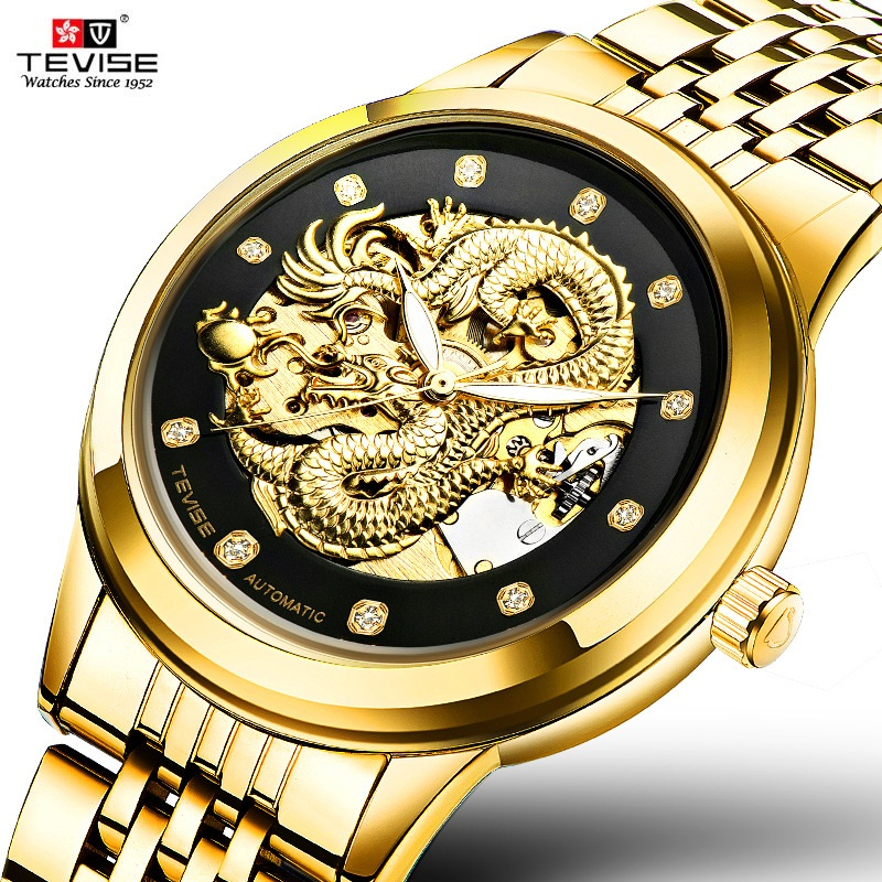 TEVISE Chinese Dragon Men Watch Automatic Watches Luminous Waterproof Male Clock Mens Watches Top Brand Luxury Wristwatches New tevise men watch black stainless steel automatic mechanical men s watch luminous waterproof watch rotate dial mens wristwatches