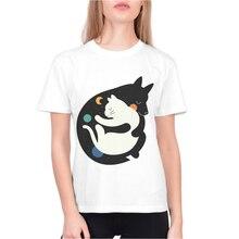 Women Cotton T Shirt Cat Printing Tops Short Sleeve Woman Tshirts Female Clothing Streetwear Brand White Tee Chemise Femme