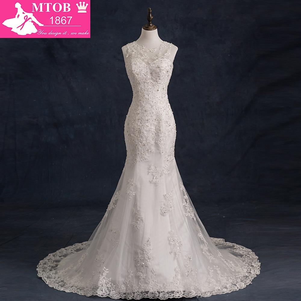 2018 Suknie ślubne syrenka Prawdziwy obraz Vestido De Casamento Koronkowa suknia ślubna Zakupy Sprzedaż online suknia ślubna w stylu vintage XW-3