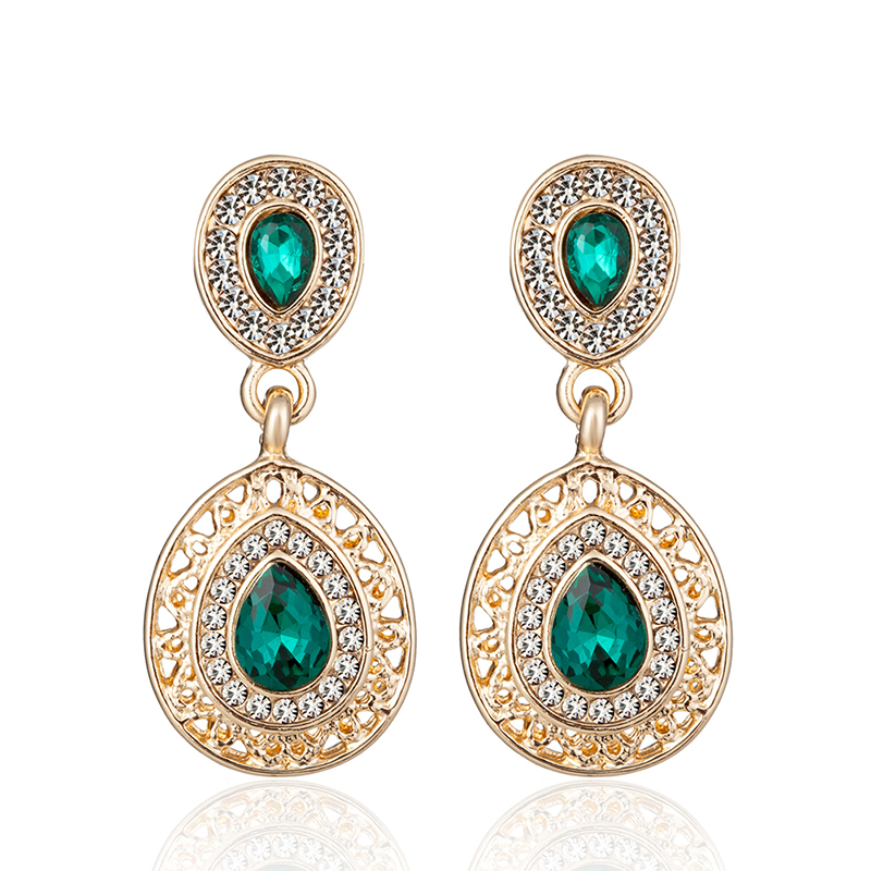 ALULU Klassische Frauen Grün Kristall Ohrringe Strass Baumeln Ohrring Lange Ohrring Schmuck Für Frauen Brincos