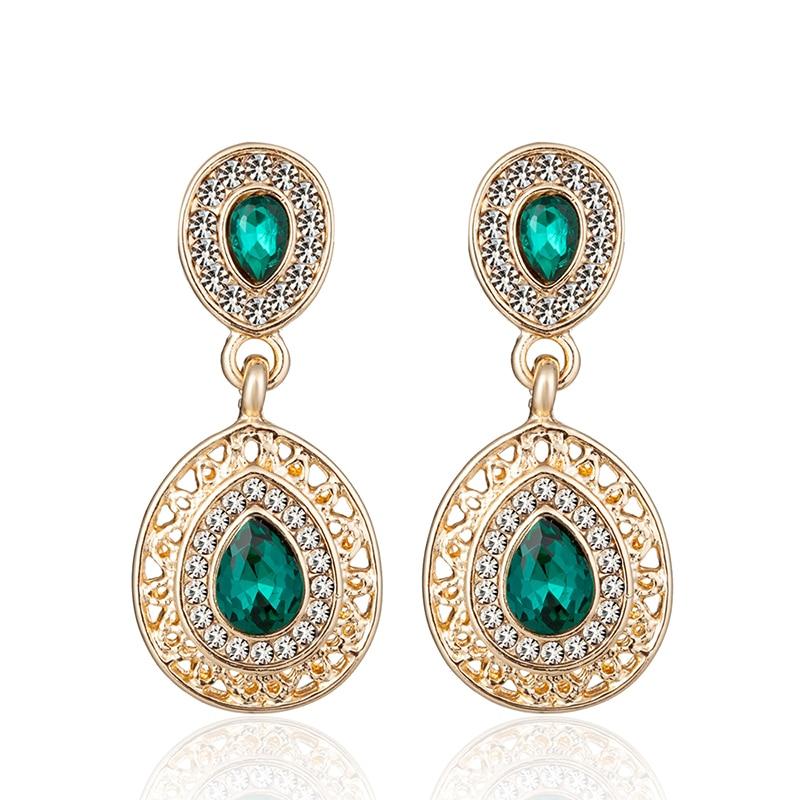 ALULU Classic Women Green Crystal Drop საყურეები Rhinestone Dangle საყურე გრძელი საყურე სამკაულები ქალებისათვის Brincos