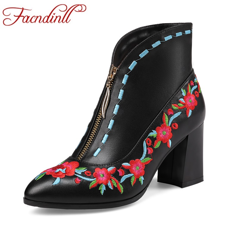 FACNDINLL new 2017 ankle boots for women genuine leather fashion sexy high heels platform black shoes woman party riding boots facndinll genuine leather ankle boots for women new fashion short boots high heels pointed toe lace up women black riding boots