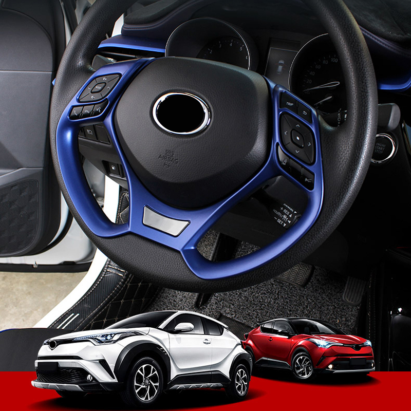 Car Styling 2PCS ABS Plastic Interior Steering Wheel Decoration Cover Trim For Toyota C HR CHR 2016 2017 2018