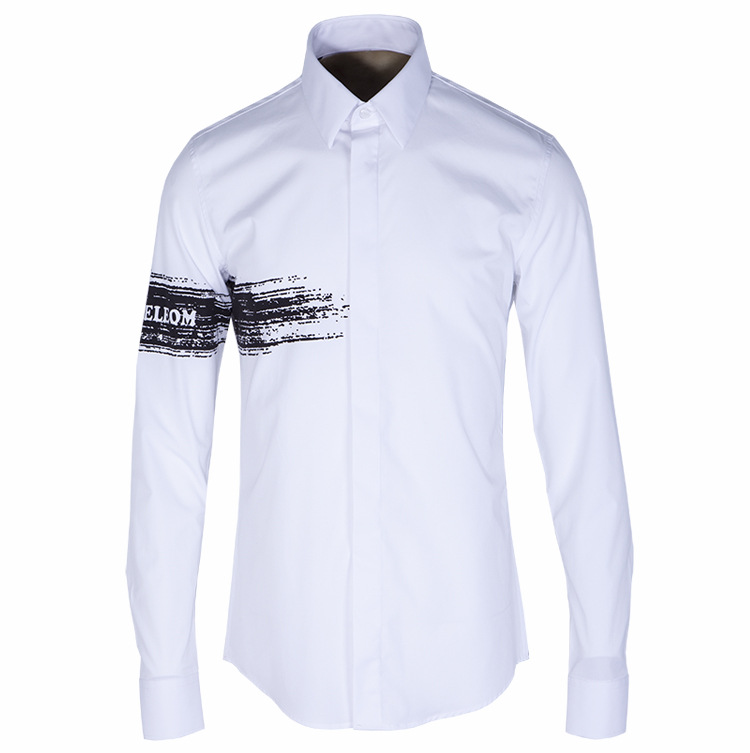 2016 new arrival casual Ink Brush iron long-sleeved shirt Slim Fashionable Men high qulaity autumn plus size M L XL 2XL3XL4XL