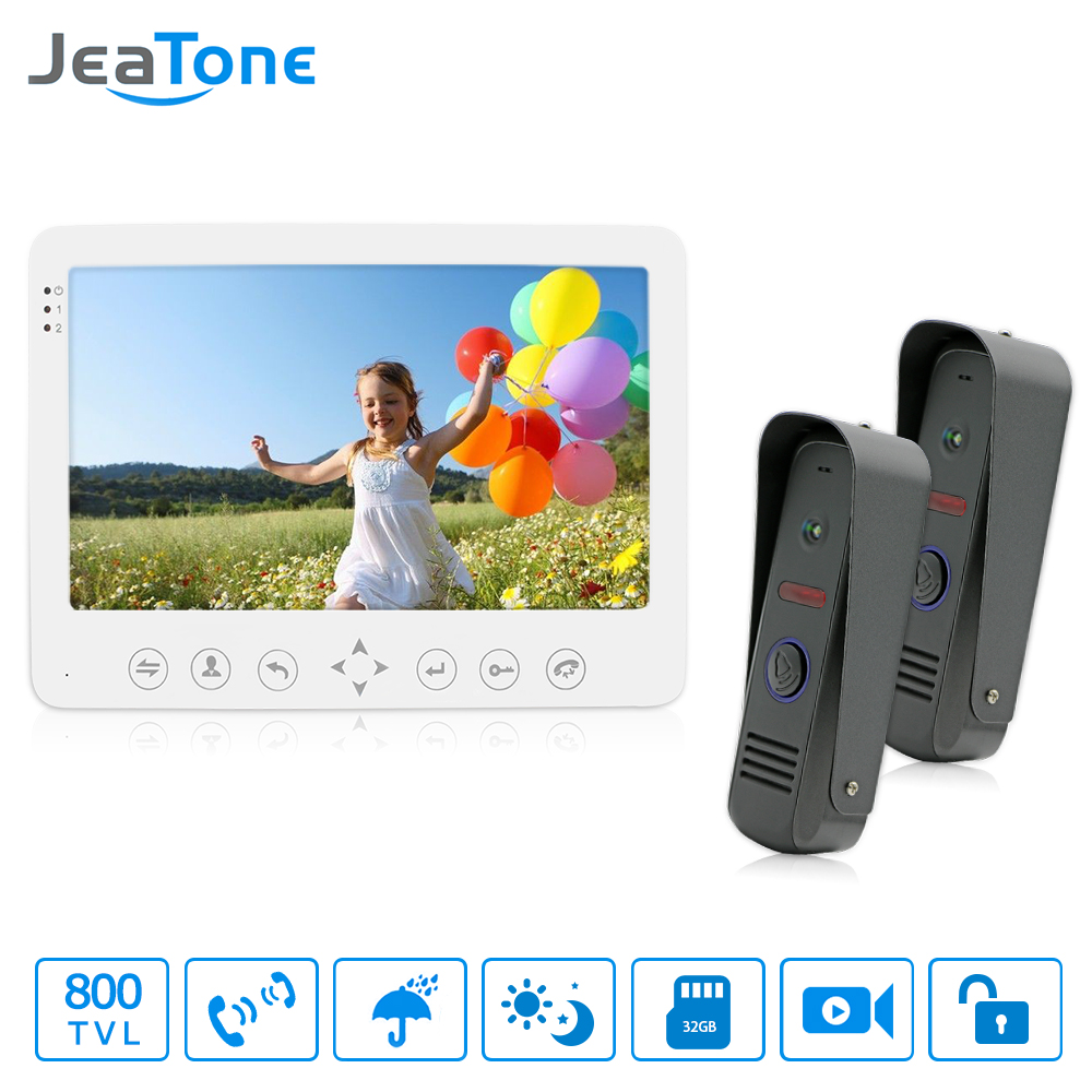 JeaTone 7 Inch Video Door Phone Door Bell System IP65 Waterproof 800TVL IR Camera Video Door