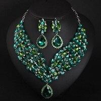 Роскошное ожерелье с кристаллом зеленого цвета, распродажа ювелирных изделий, женские платья, преувеличенные аксессуары, свадебные украше...