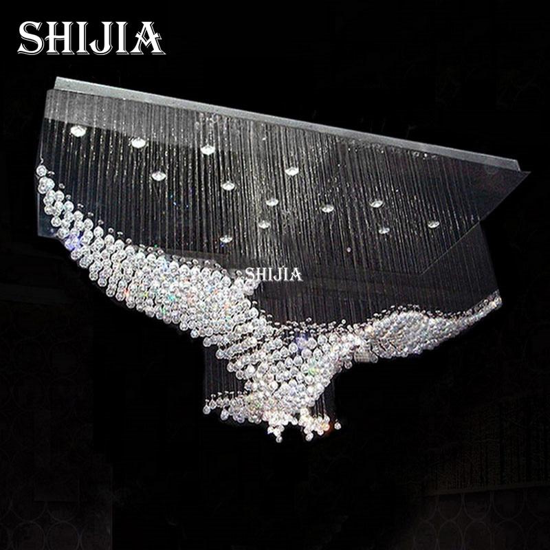 New eagles design luxury modern crystal chandelier lighting lustre hall led lights cristal lamp l100w55h80cm 110v 220v