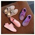 0-12A Crianças Meninas e menino LEVOU Luminosa Tênis Esportes Dos Miúdos shoes botas menina casual para a primavera outono botão de borracha eur 21-36
