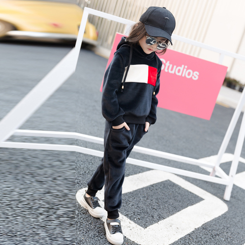 Girls Clothing Set 2017 Spring Autumn Velvet Kids Tracksuit Pullover Hooded Sweater Coat Sports Suit Children Clothes Teenage 2017 autumn new girls clothes sport suit kids tracksuit owl sweater coat dress two piece children clothing set 4 13 kids clothes