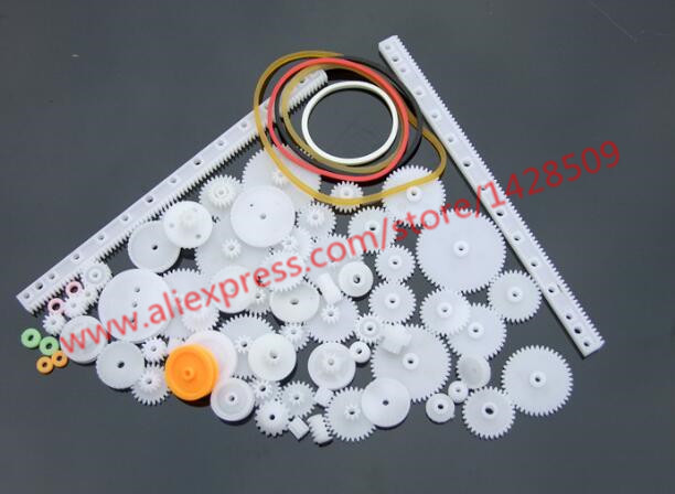 75 pcs/lot different type mini gear Plastic Gear Set DIY Rack Pulley Belt Worm Single Do ...
