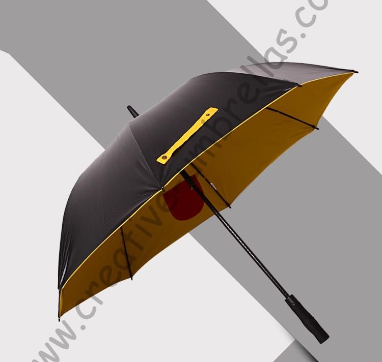 Diameter 120cm Real double layers fabric golf umbrella.fiberglass,anti static,5times black coating,inner pocket inside panel