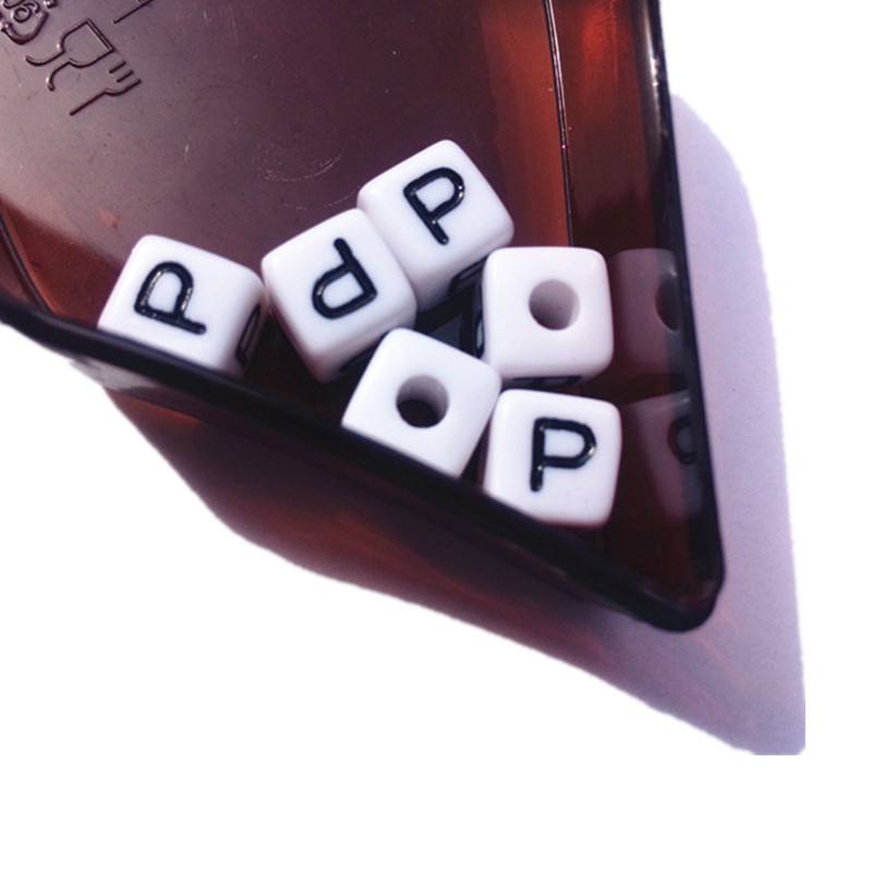 Free Shipping 10*10MM Single Letter P Acrylic Beads,550PCS/Lot Square Cube Plastic Alphabet Letters beads for Jewelry Bracelet