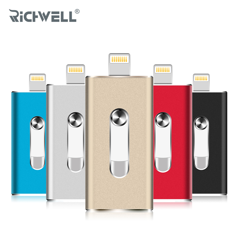 Richwell OTG USB Flash Drive For iPhone X/8/7/7 Plus/6/6s/5/SE ipad Metal Pendrive HD Memory Stick 8G 16G 32G 64G Flash Drive for iphone xs max xr xs x selfie stick for iphone x 8 7 6 6s plus 5 5s wired selfie stick extendable monopod for lightning