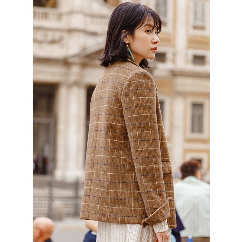 INMAN New Arrival Turn Down Collar Plaid Pattern Women Fashion Double Breast Button Short Wool Coat-in Wool & Blends from Women's Clothing    2