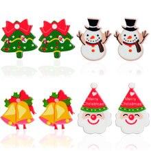 E446-E450 Lightweight Santa Clause Snowman Lovely Tree Bell Cartoon Cute Christmas Decorations Stud Earrings