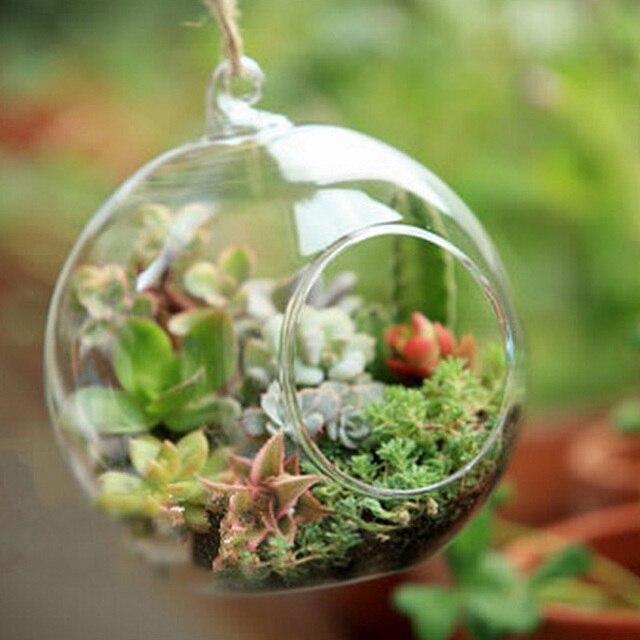 Decor Ball Globe Shape Clear Transparent Hanging Glass Vase Flower