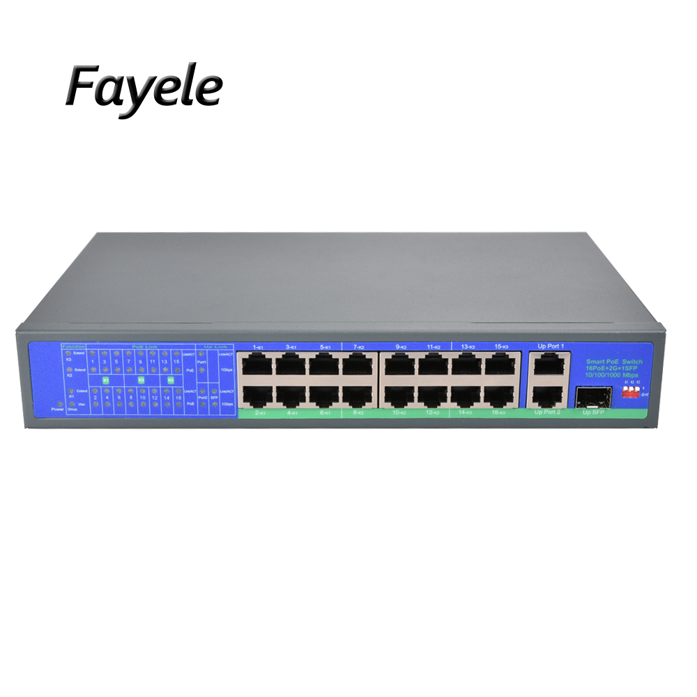 CCTV Security Standard DC48V 16CH POE switch Gigabit 10/100/1000Mpbs RJ45 15.4W/30W IEEE 802.3af/802.3at 250W For IP Camera 250M standard 48v 8ch poe switch 15 4w 30w ieee 802 3af ieee 802 3at 2 uplink port 120w for cctv security poe ip camera 250m distance