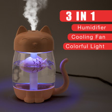 3 in 1 350ML USB Katze Luftbefeuchter Ultraschall Cool-Nebel Entzückende Mini Luftbefeuchter Mit LED Licht Mini USB Fan für Home office(China)