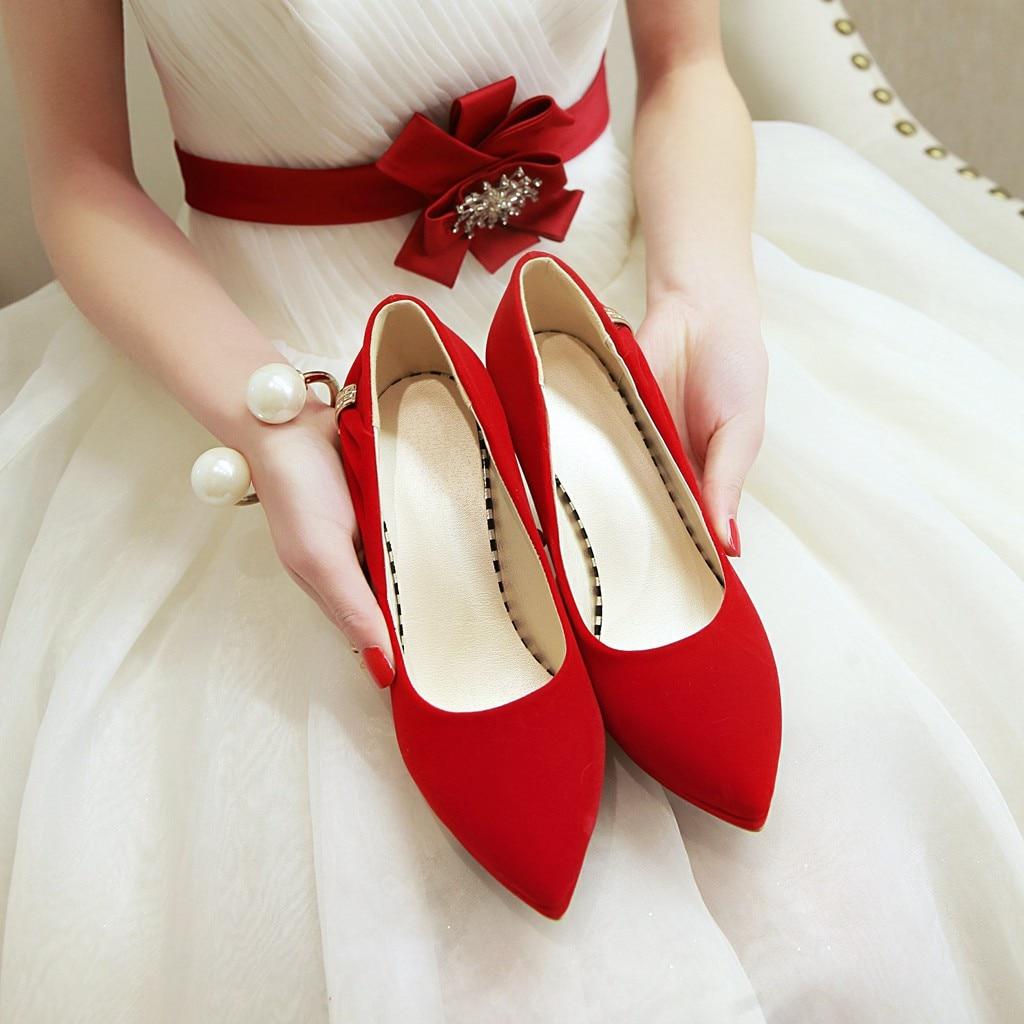 Talons 2018 Pompes Partie Été Esrfiyfe Bout Mariage Loisirs Hauts rouge Noir Printemps Robe Suede Chaussures Femmes Cristal De Nouveau Pointu BqdTwd87